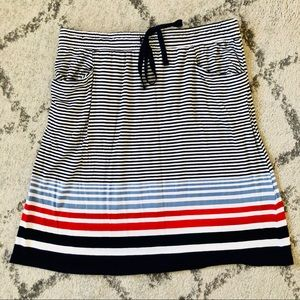 Striped Drawstring Skirt with Pockets